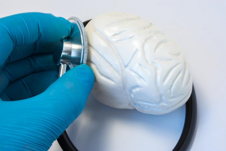 hand pressing a stethoscope to a white brain model