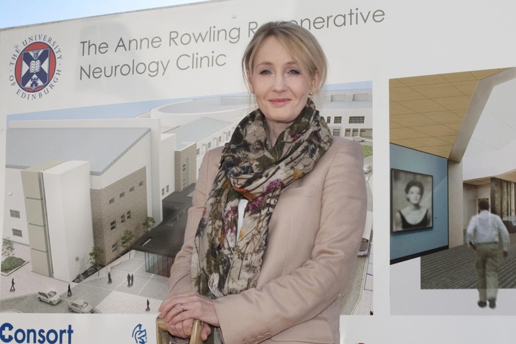 J.K. Rowling at the ground-breaking ceremony for the Anne Rowling Clinic