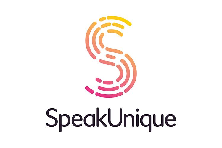 Speak Unique logo - big S with fingerprint pattern with SpeakUnique wording under it
