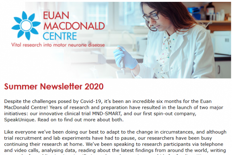 screenshot of start of newsletter