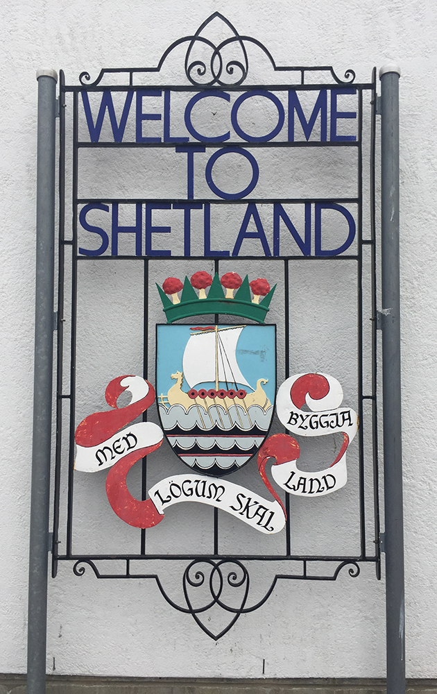Welcome to Shetland sign