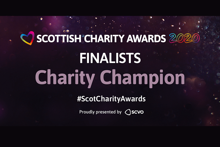 Wording on purple background 'Scottish Charity Awards Finalists Charity Champion'