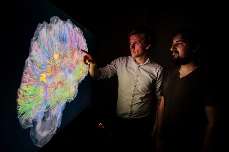 two researchers in a darkened room looking at a large projection of a brain