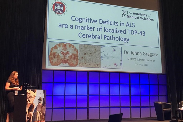 Jenna Gregory giving a talk at the ENCALS 2019 conference