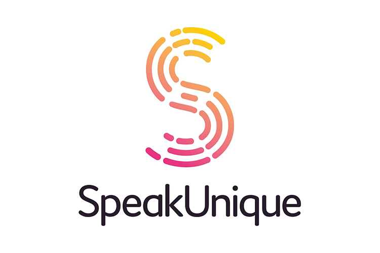 Speak Unique logo - big S with fingerprint pattern with SpeakUnique wording under it
