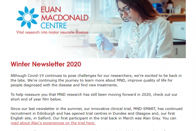Image of start of newsletter