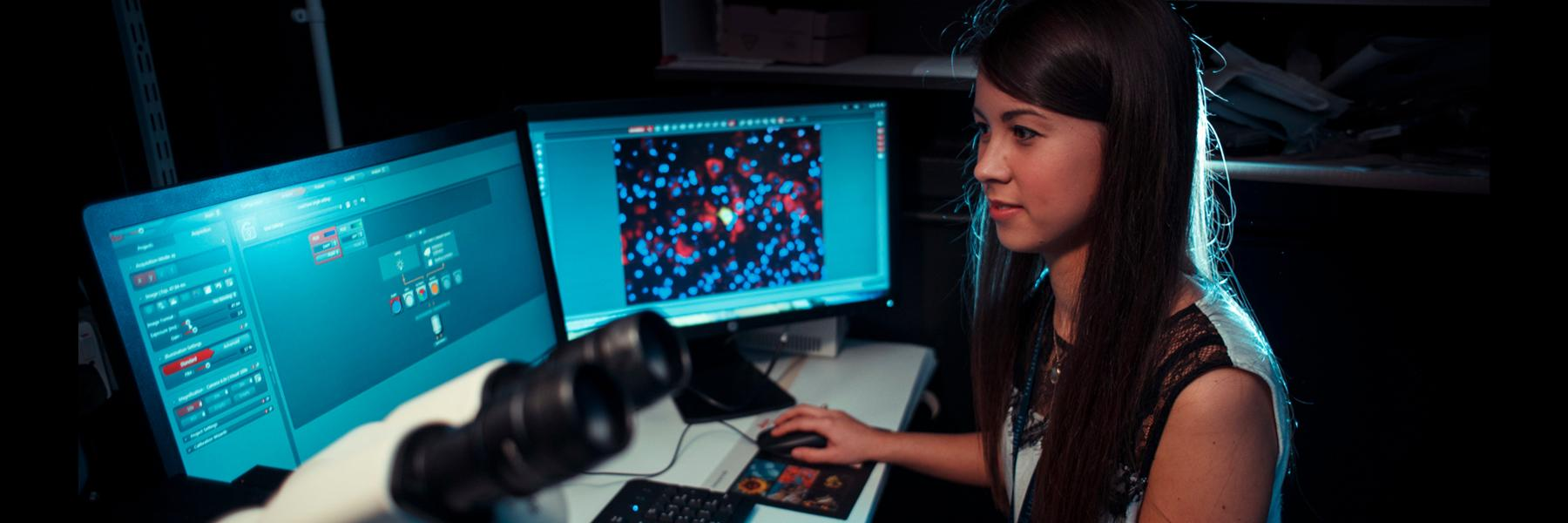 A researcher studying cells on a screen