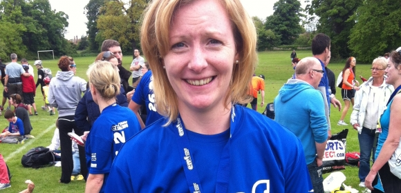 Denise Cranley having just completed the Edinburgh Marathon relay
